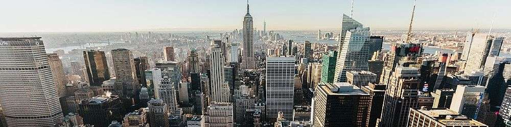 New York city skyline including the business and banking district